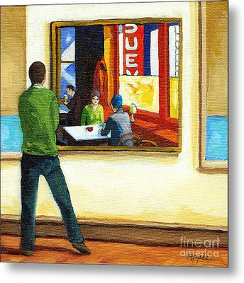Moments With Hopper - Portrait Oil Painting Metal Print