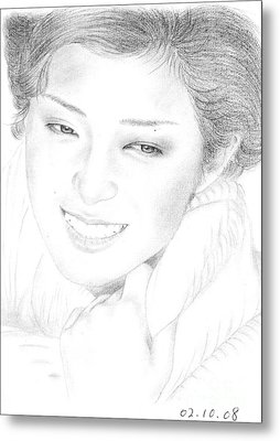 Metal Print featuring the drawing Momoe Yamaguchi by Eliza Lo