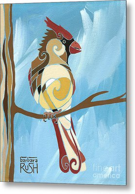 Moms Day Off Female Cardinal Painting Metal Print