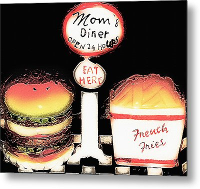 Mom's Diner - Open 24 Hours Metal Print by Steve Ohlsen