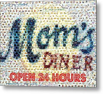 Moms Diner Food Mosaic Metal Print by Paul Van Scott