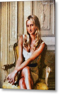Mona Lisa Blond And Modern - Da Metal Print by Leonardo Digenio