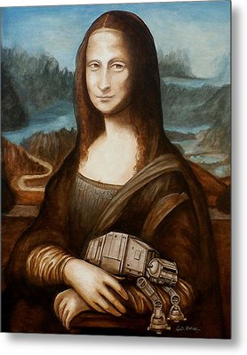 Metal Print featuring the painting Mona Lisa What You Smiling At At by Al  Molina