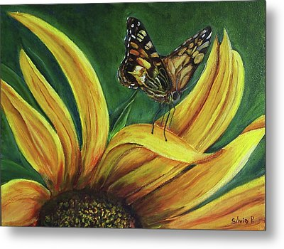 Monarch Butterfly On A Sunflower Metal Print by Silvia Philippsohn