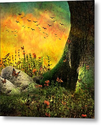 Monarch Meadow Metal Print by Ally  White