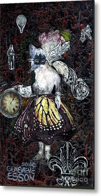 Metal Print featuring the mixed media Monarch Steampunk Goddess by Genevieve Esson