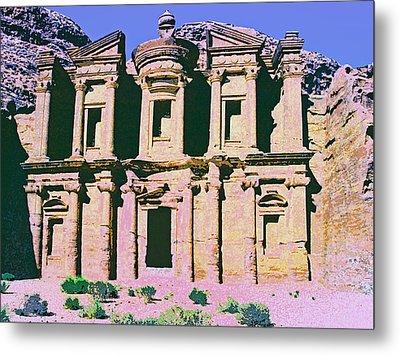 Monastery At Petra Metal Print by Dominic Piperata