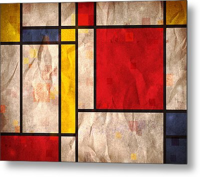 Mondrian Inspired Metal Print by Michael Tompsett