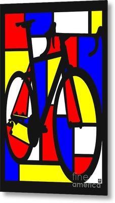 Mondrianesque Road Bike Metal Print by Sassan Filsoof