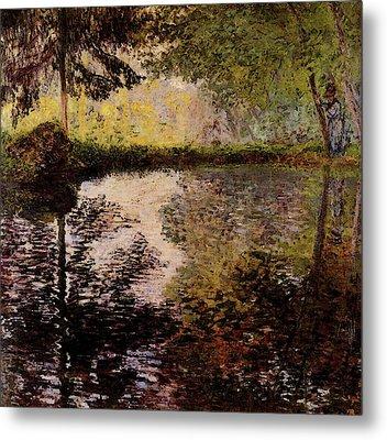 Monet Claude Pond At Montgeron Metal Print by Claude Monet