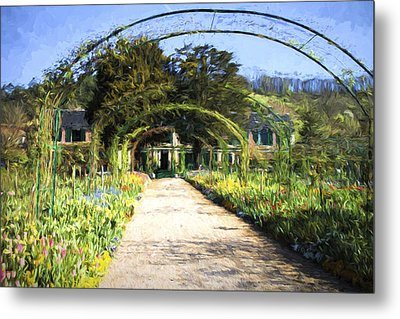 Monet House And Spring Garden In Giverny Metal Print