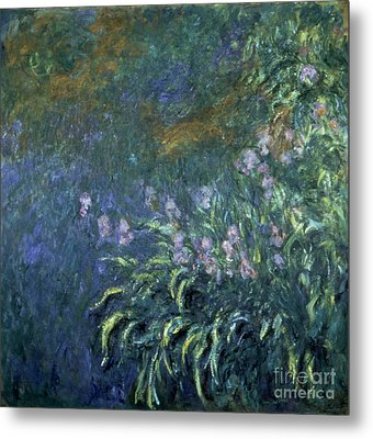 Monet: Irises By The Pond Metal Print by Granger