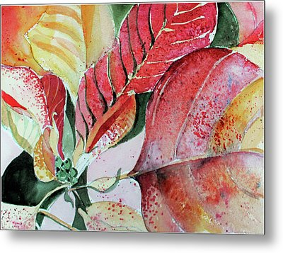 Monet Poinsettia Metal Print by Mindy Newman