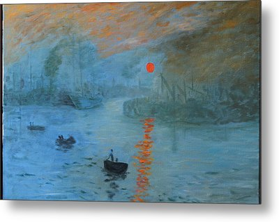 Monet Sunrise By Dg Metal Print
