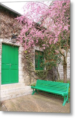 Monet's Bench Metal Print