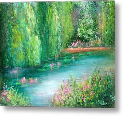 Monet's Pond Metal Print by Sally Seago