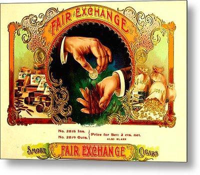 Money Cigar Label Metal Print by Marianne Dow