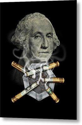 Money Up In Smoke Metal Print by James Larkin