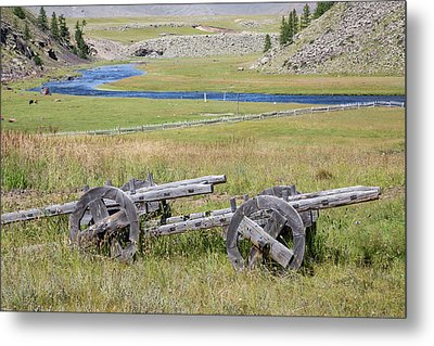Metal Print featuring the photograph Mongolian Ox Carts by Hitendra SINKAR