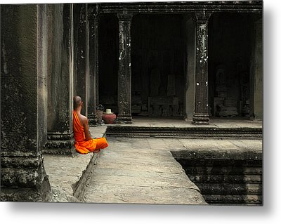 Monk In Cambodia Metal Print by Brady Barrineau