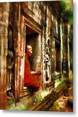 Monk In Meditation Metal Print by Mario Carini