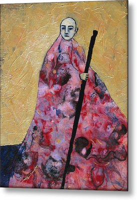 Monk With Walking Stick Metal Print by Pauline Lim