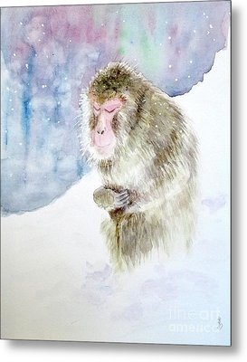 Monkey In Meditation Metal Print by Yoshiko Mishina