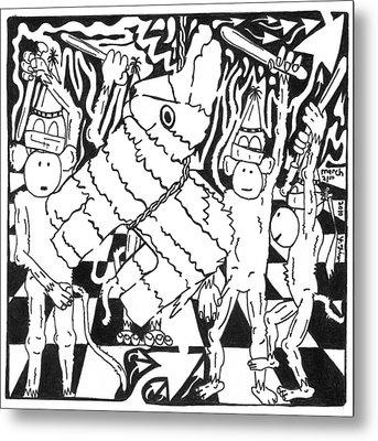 Monkey Pinata Party Metal Print by Yonatan Frimer Maze Artist