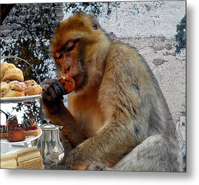 Monkey Tea Party Metal Print by Jan Steadman-Jackson