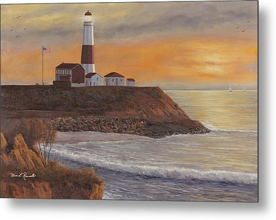Monntauk Lighthouse Sunset Metal Print