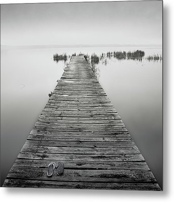 Mono Jetty With Sandals Metal Print