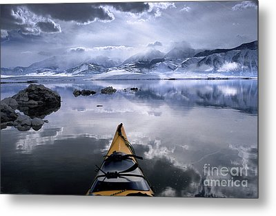 Mono Lake Winter Kayak Metal Print by Buck Forester