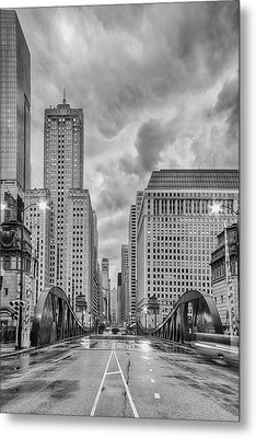 Monochrome Image Of The Marshall Suloway And Lasalle Street Canyon Over Chicago River - Illinois Metal Print