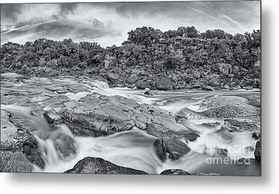 Monochrome Panorama Of Pedernales Falls State Park - Texas Hill Country Metal Print by Silvio Ligutti