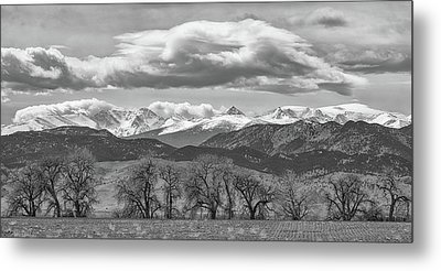 Metal Print featuring the photograph Monochrome Rocky Mountain Front Range Panorama Range Panorama by James BO Insogna