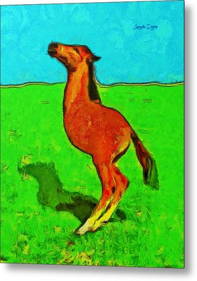 Monohorse Baby Over Grass - Da Metal Print by Leonardo Digenio