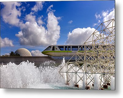 Monorail And Spaceship Earth Metal Print