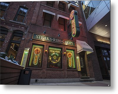 Metal Print featuring the photograph Monroe St Steakhouse by Nicholas Grunas