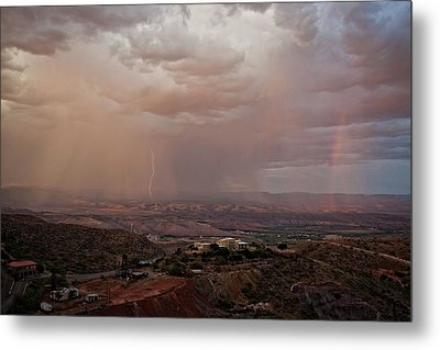 Metal Print featuring the photograph Monsoon Lightning And Rainbow by Ron Chilston