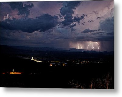 Metal Print featuring the photograph Monsoon Lightning Over Sedona From Jerome Az by Ron Chilston