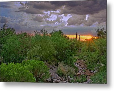 Metal Print featuring the photograph Monsoon Sunset H56 by Mark Myhaver