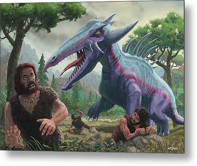Metal Print featuring the painting Monster Attacking Cavemen by Martin Davey