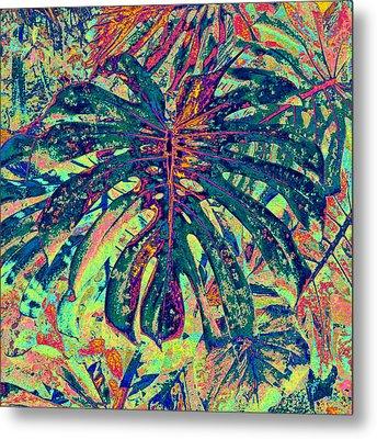 Metal Print featuring the digital art Monstera Leaf Patterns - Square by Kerri Ligatich