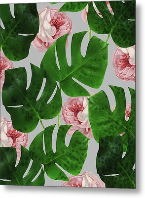 Monstera Rose Pattern Metal Print