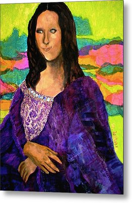 Metal Print featuring the painting Montage Mona Lisa by Laura  Grisham