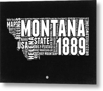 Montana Black And White Map Metal Print