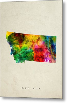 Montana State Map 01 Metal Print by Aged Pixel