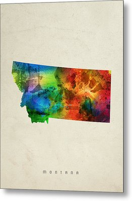 Montana State Map 03 Metal Print by Aged Pixel