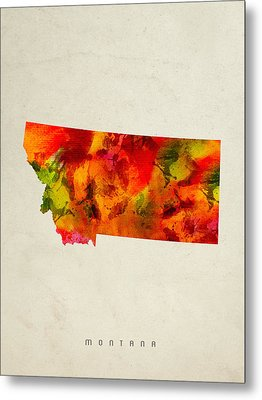 Montana State Map 04 Metal Print by Aged Pixel