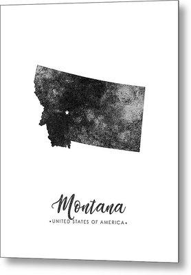 Montana State Map Art - Grunge Silhouette Metal Print